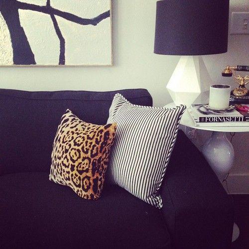 Leopard x black & white stripes