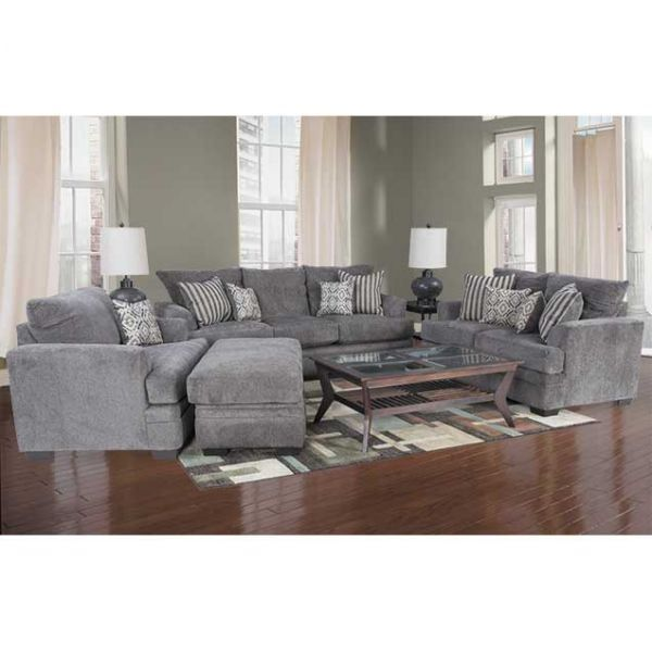 Cornell Pewter Loveseat Pewter Interiors and Room