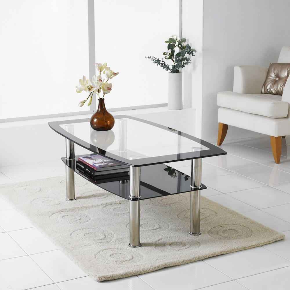 Modern Black & Clear Glass Chrome Living Room Coffee Table with ...