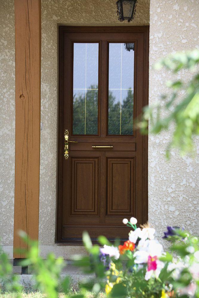 Porte D'Entrée Vitrée Pvc Façon Bois Modèle Matisse, Vue De L