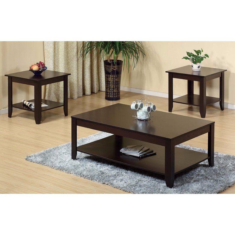 Haenggi Stylish Wooden 3 Piece Coffee Table Set | Coffee table, Contemporary end tables, 3 piece ...