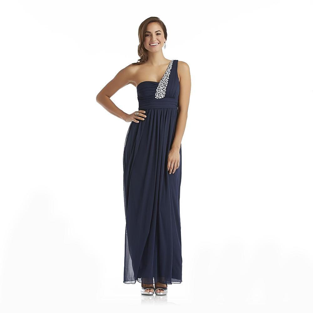 City Triangles Junior's Long Dress - One Shoulder & Rhinestones ...