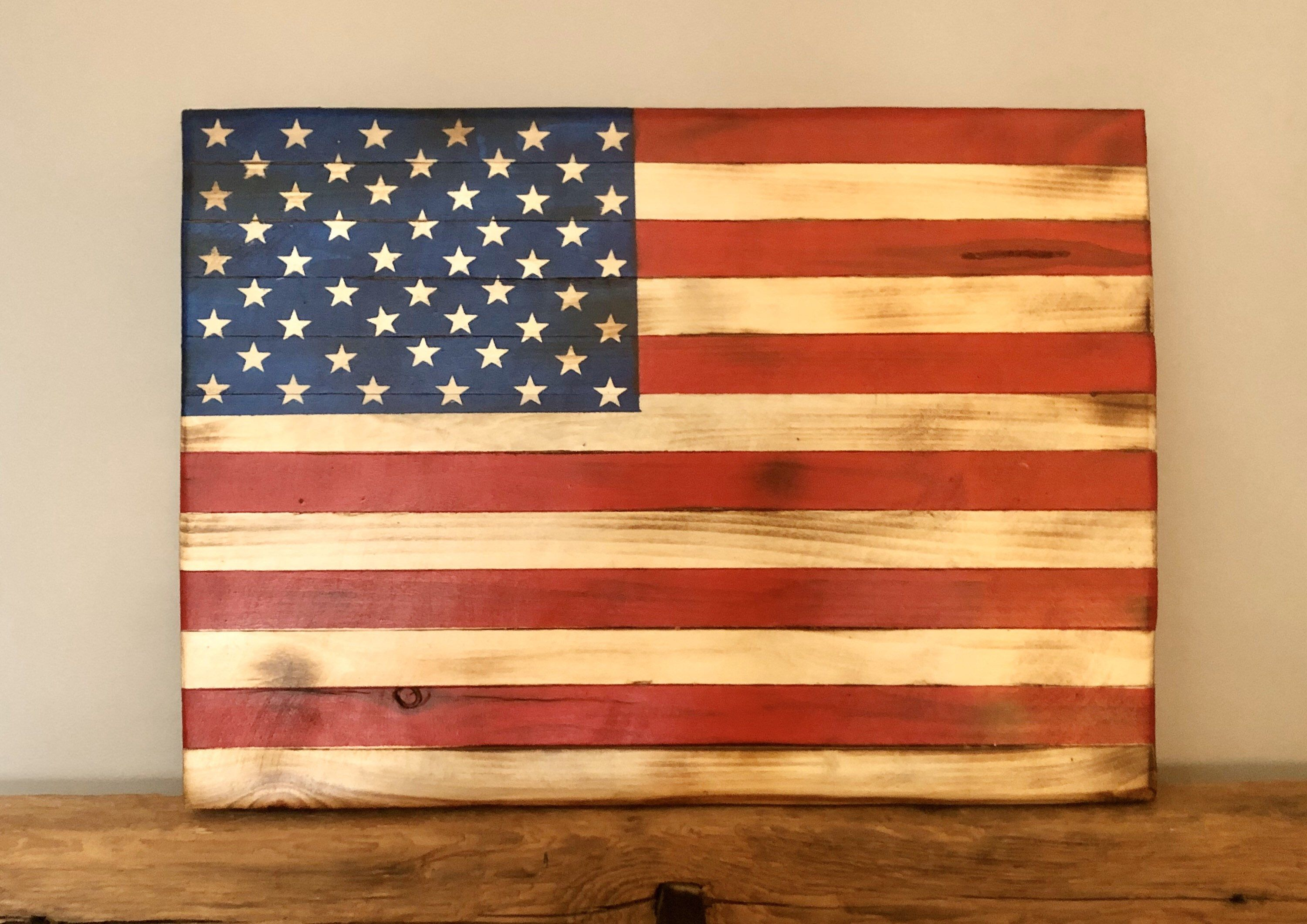 Wooden American Flag Wall Decor Handcrafted And Hand Painted In 2020 American Flag Wall Decor American Flag Wall Hanging Wooden American Flag
