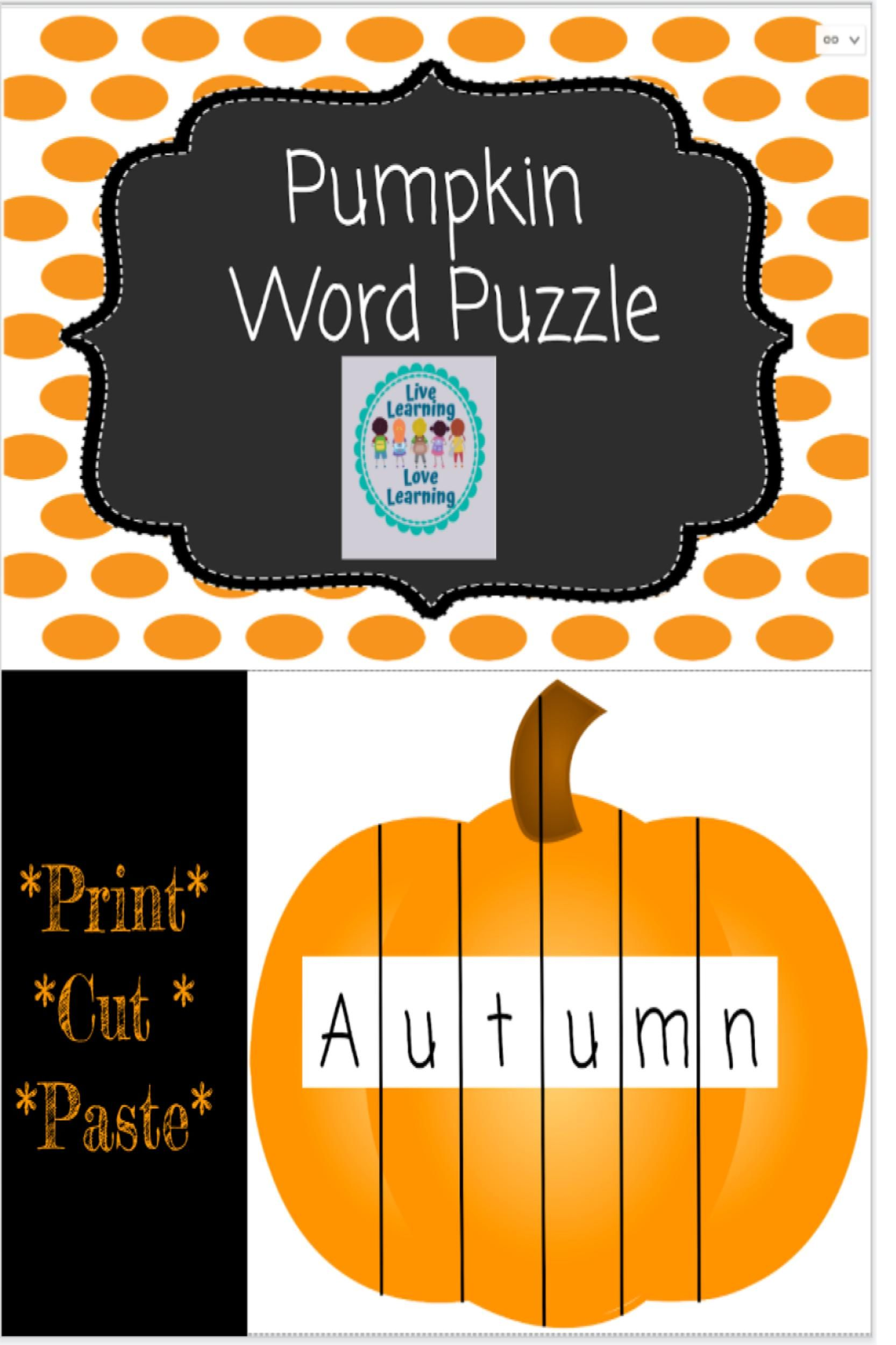 Editable Pumpkin Name Sight Word Puzzle