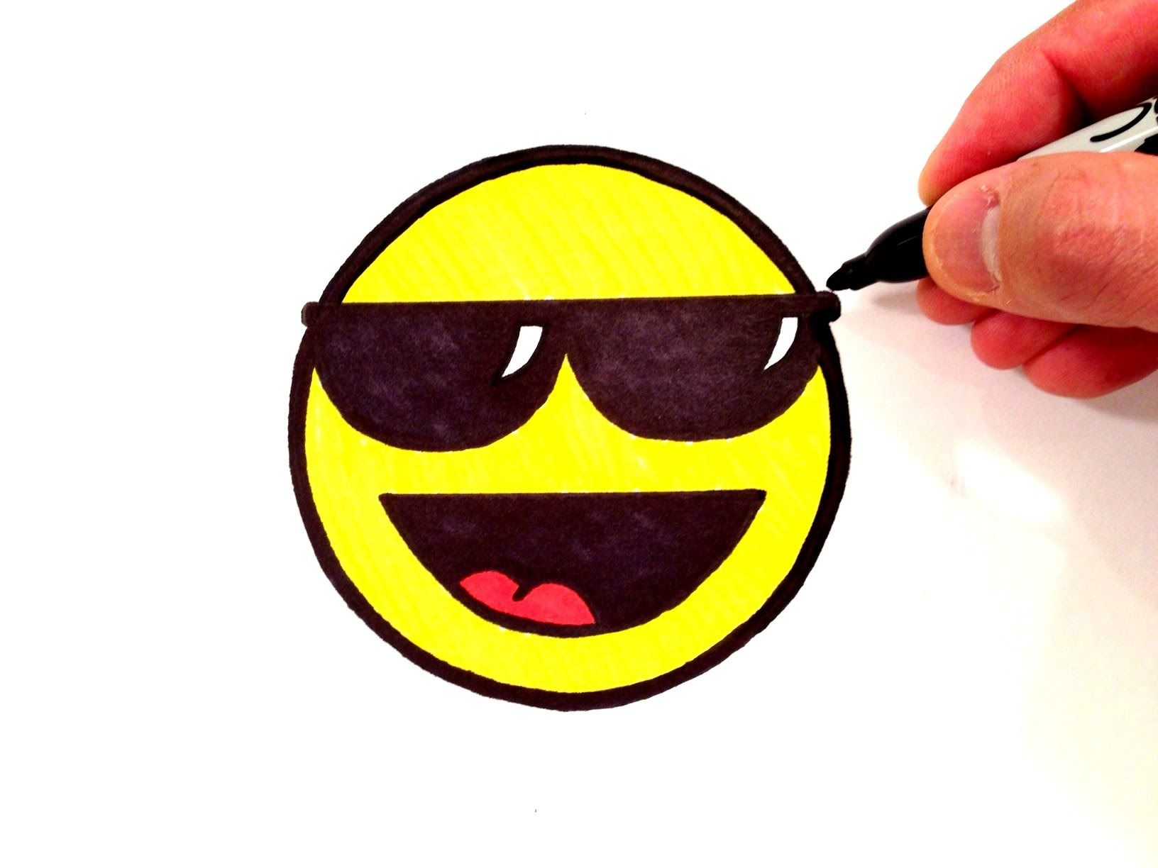 How to draw a cool smiley face with sunglasses youtube
