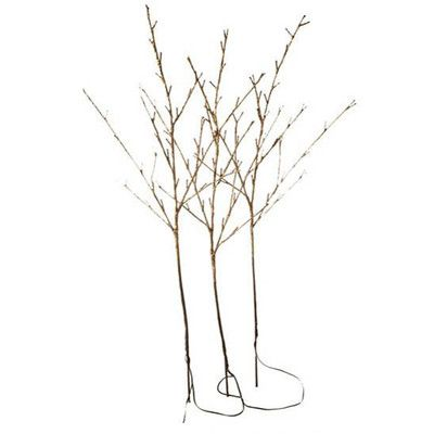 "RAZ Brown Glittered Branches  Set/3 Brown Glitter Made of Wire Measures 39"" Includes 1 AC Adapter Approx 10' to Adapter UL Certified Indoor Use Only Approx 12"" Between Branches 96 Clear"