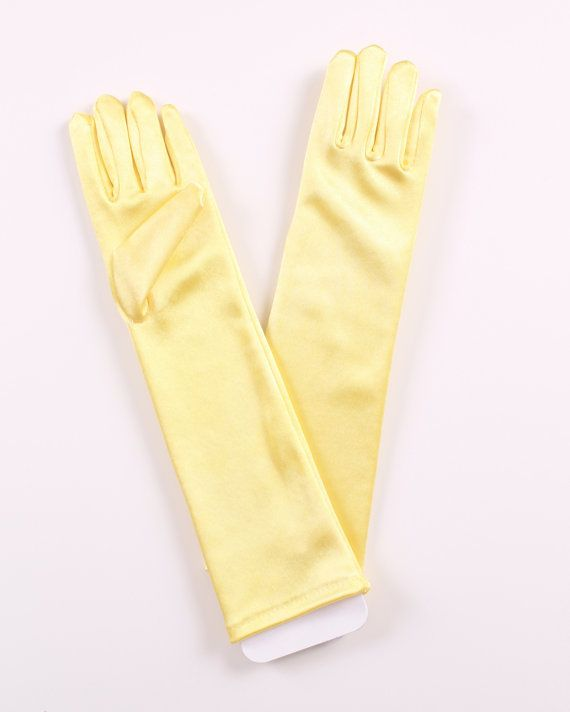 Princess Gloves  Yellow  Satin Elbow by Cutiepatootiedesignz