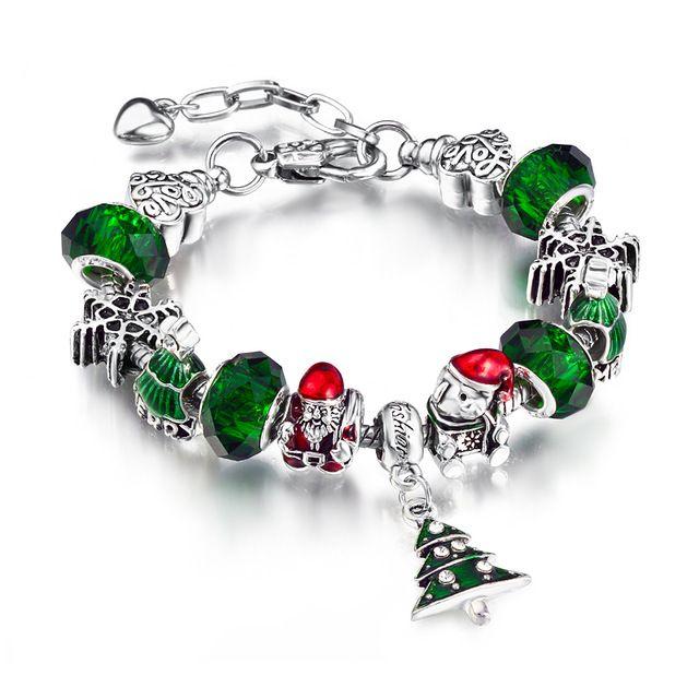 2015 braccialetto di natale fascini europei gioielli in argento placcato cristallo verde borda il braccialetto europeo adatto per le donne aa75