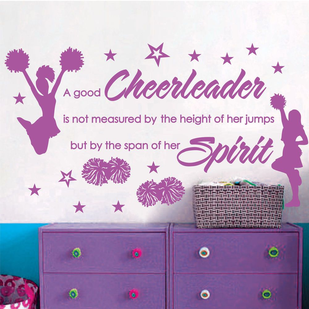 Cheer Cheerleaders Girls Stars Vinyl Wall Decor Mural