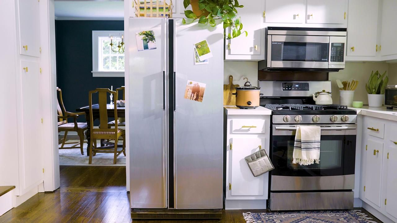 How To Update An Outdated White Fridge With Modern Stainless Steel
