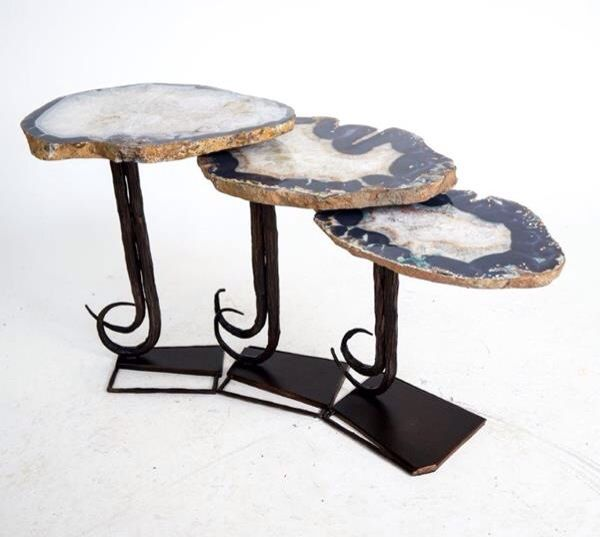 Agate Nesting Tables in a linked design. Wrought iron base.