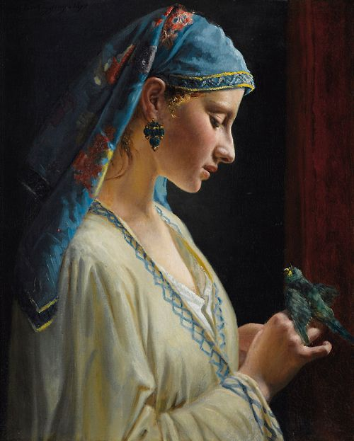 Frédéric-Pierre Tschaggeny - Young woman with parrot (1872)