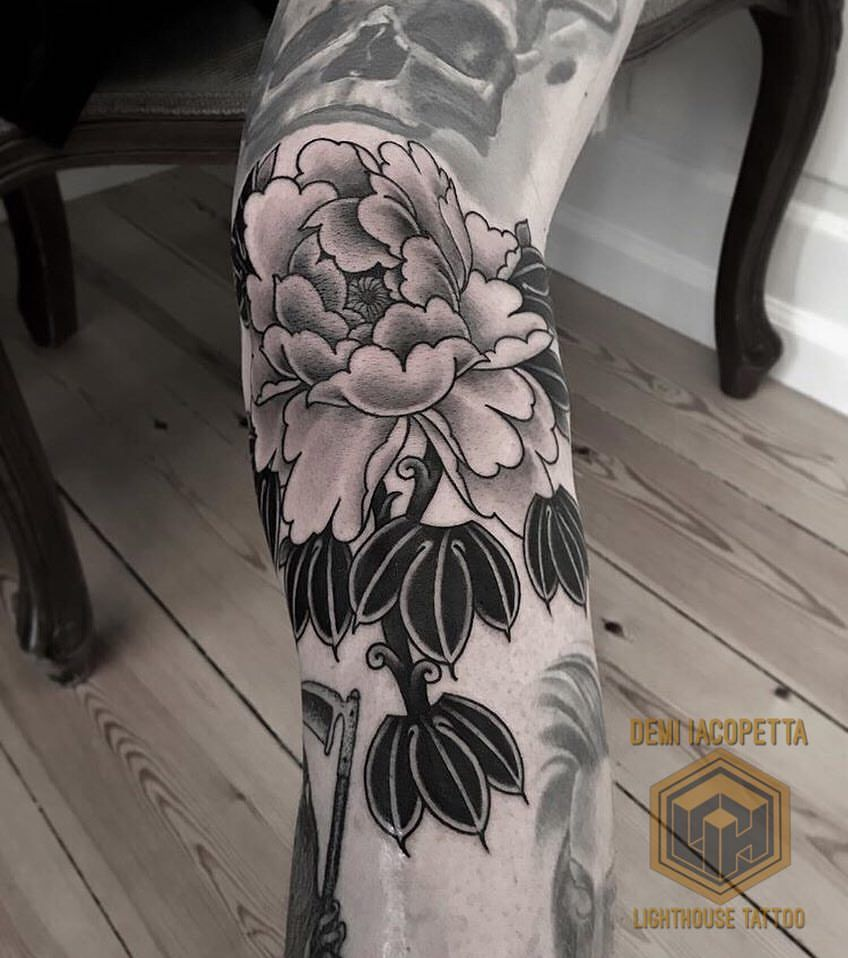 Black And Grey Peony From Demiiacopetta For Bookings Tattoos Lighthouse Tattoo Black And Grey Tattoos