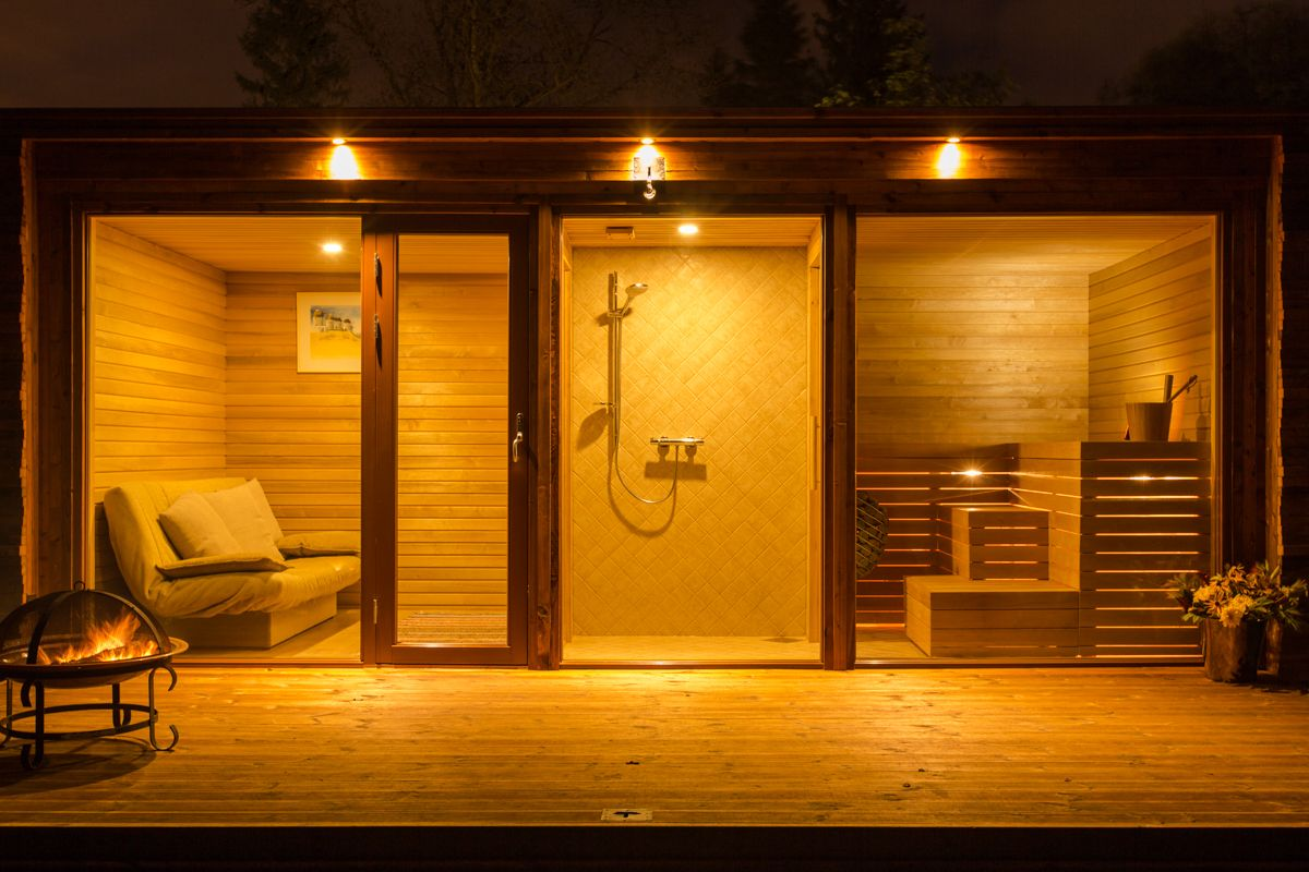 Different angle of same container sauna Sauna house, Spa