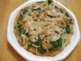 tuna spinach garlic mayo pizza ツナとほうれん草のガーリックマヨピザ (tuna, spinach, cheese, mushroom)