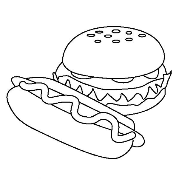 Hot Dog And Hamburger Coloring Page Coloring Sky In 2020 Dog Coloring Page Coloring Pages Penguin Coloring Pages