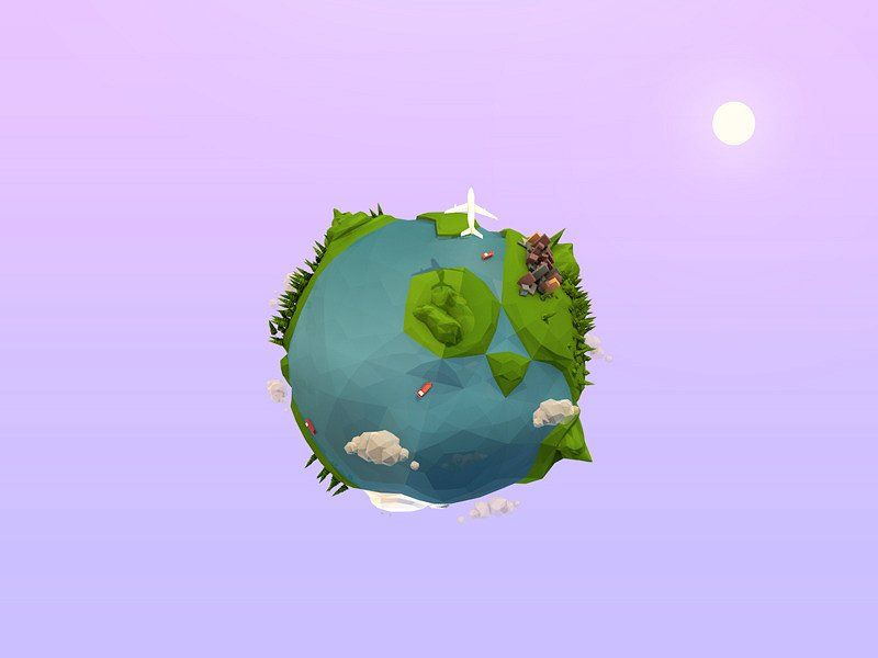 cartoon low poly earth planet  rotation rendered animated