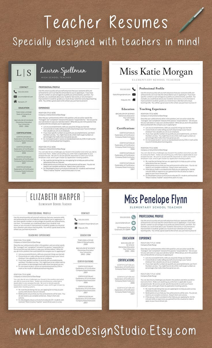 professionally designed resumes with teachers in mind
