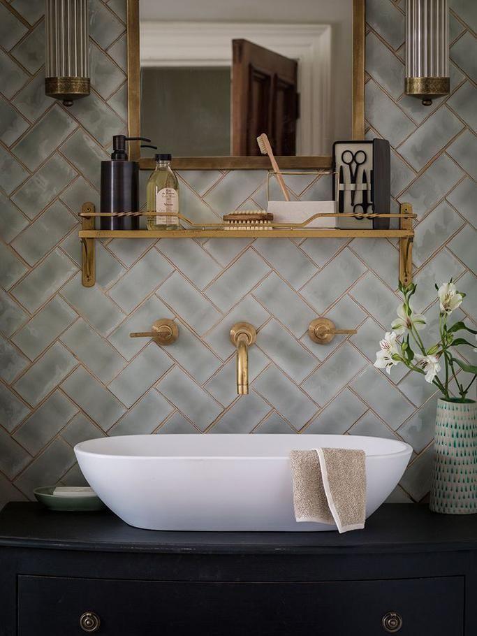 Herringbone Tile Wall Mounted Gold Faucet Vessel Sink Patterned Bathroom Tiles Bathroom Inspiration Bathroom Design