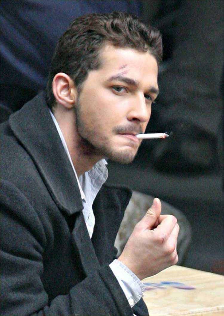 Shia LaBeouf smoking a cigarette (or weed)
