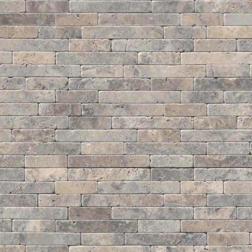 Silver Travertine Backsplash: Silver Ash Tumbled Veneer 8x18 Travertine Backsplash Wall