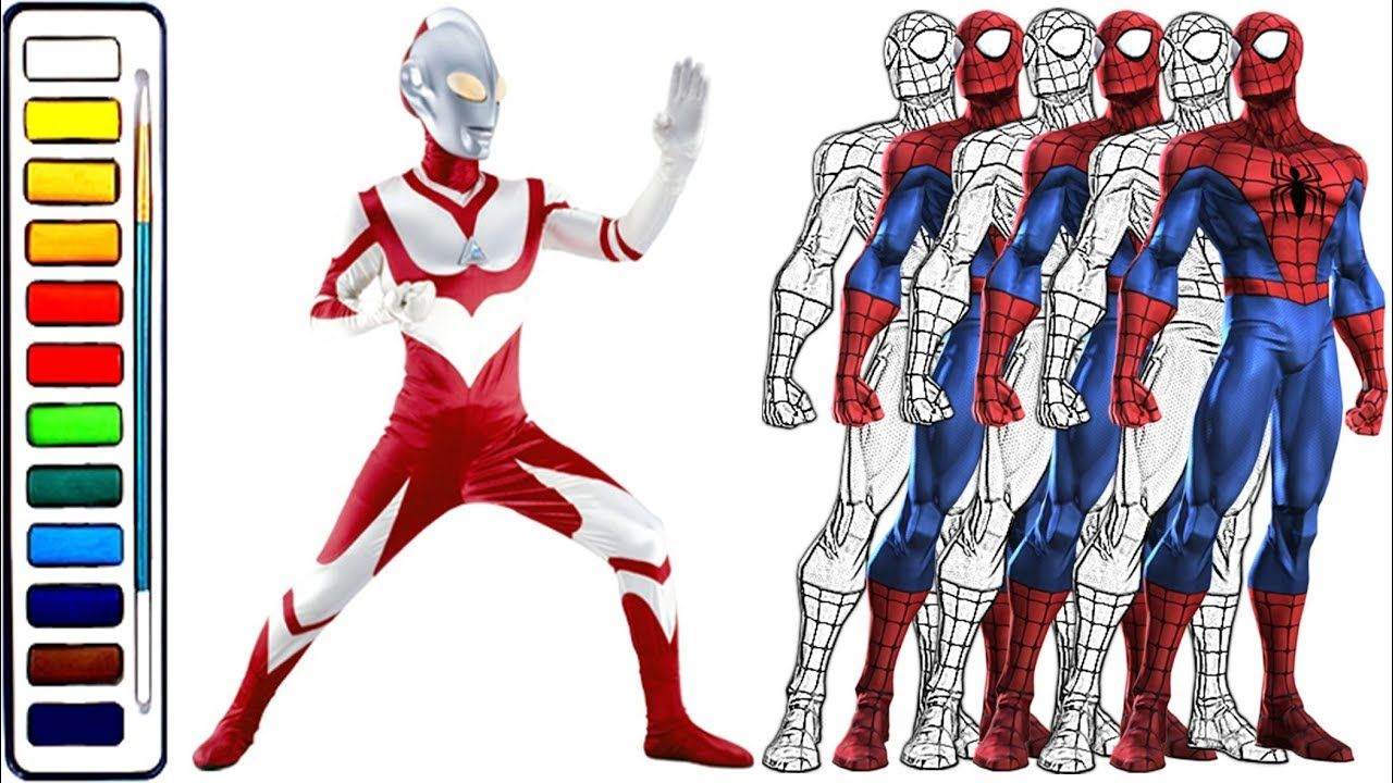 Spiderman And Ultraman Coloring Book For Kids 2