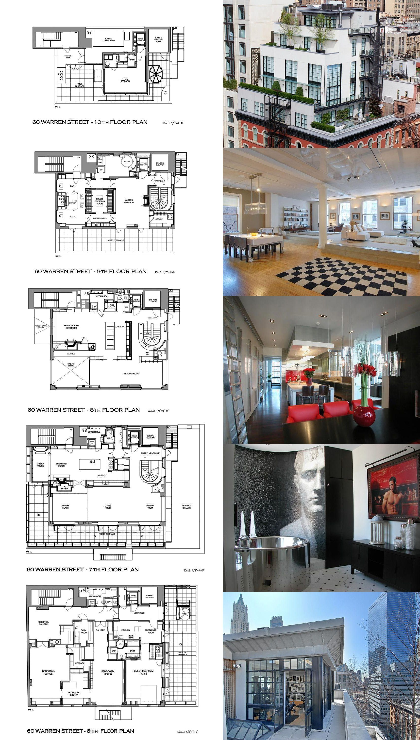 A Townhouse In The Sky In Tribeca Penthouse Apartment Floor Plan Condo Floor Plans Mansion Floor Plan