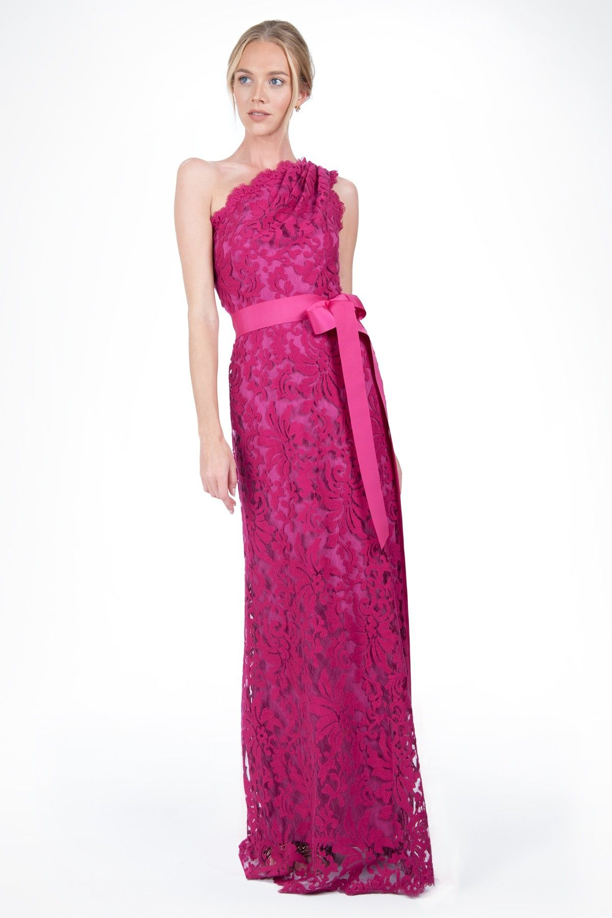 Embroidered Lace One Shoulder Gown in Lotus Pink - Evening Gowns ...