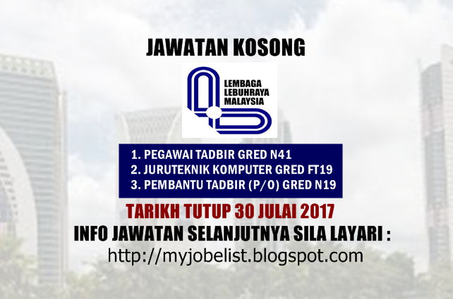 Jawatan Kosong di Lembaga Lebuhraya Malaysia (LLM) 30