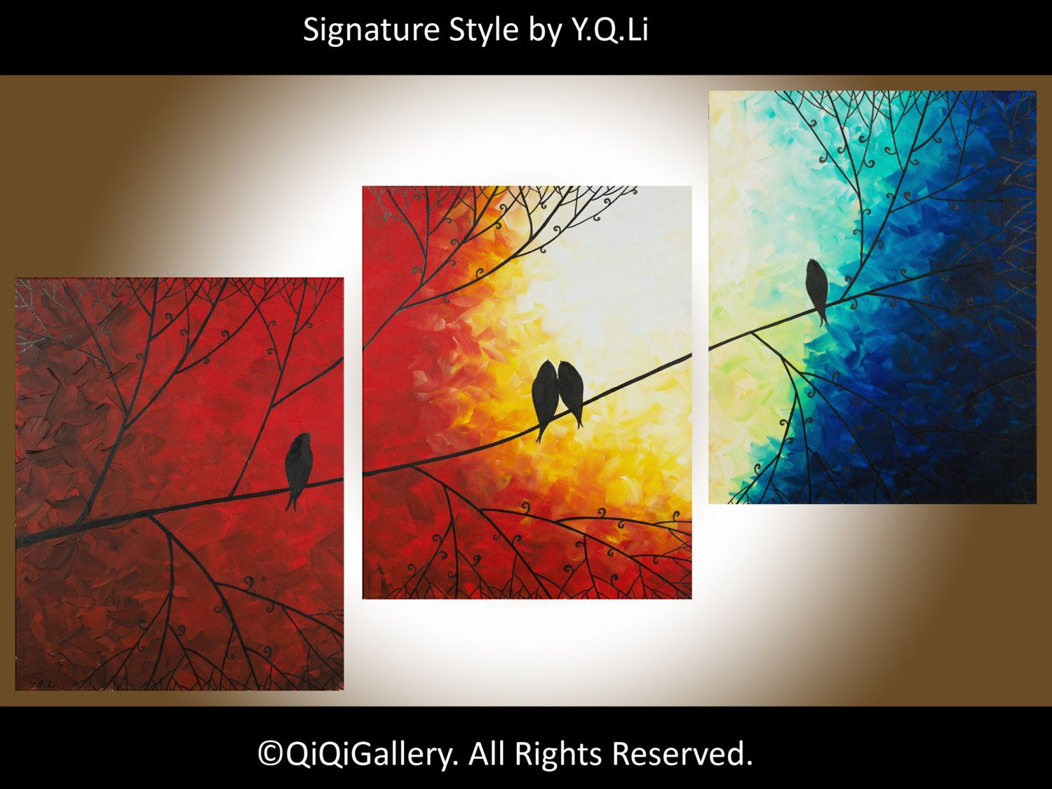 Original abstract art Tree Love Birds Wall hanging by QiQiGallery, $275.00