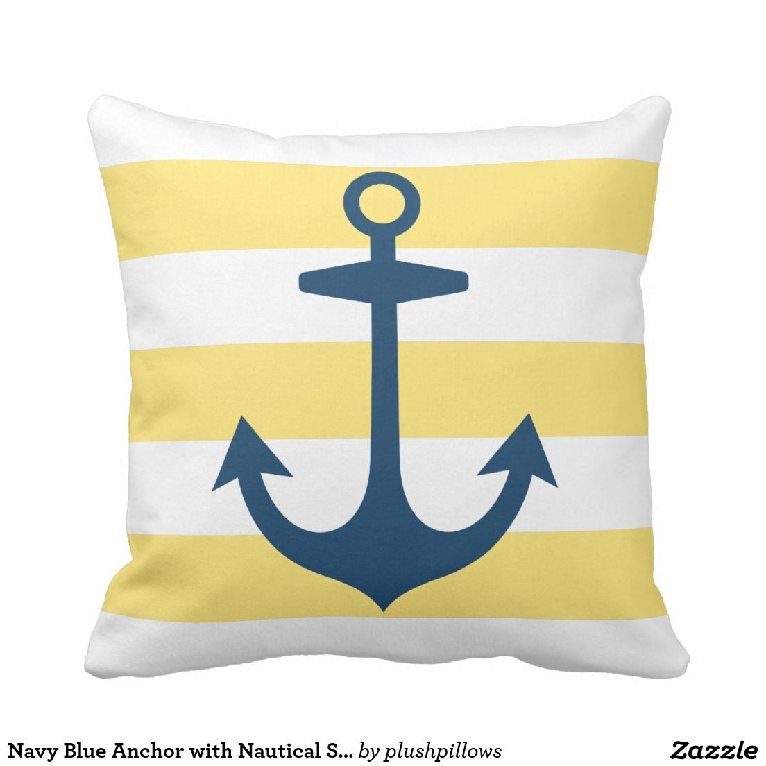 Navy Blue Anchor with Yellow Nautical Stripes Throw Pillow ...