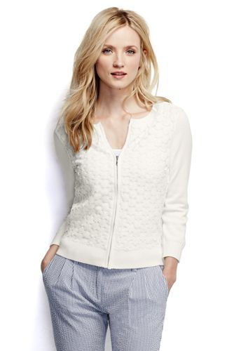 Women's Cotton Lace Zip Cardigan Sweater from Lands' End | Woman ...