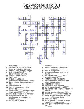 Spanish Avancemos 2 vocab 3.1 crossword | Srta's Spanish Smorgasbord ...