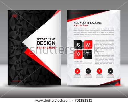 Annual report brochure flyer template, black cover design - advertisement brochure