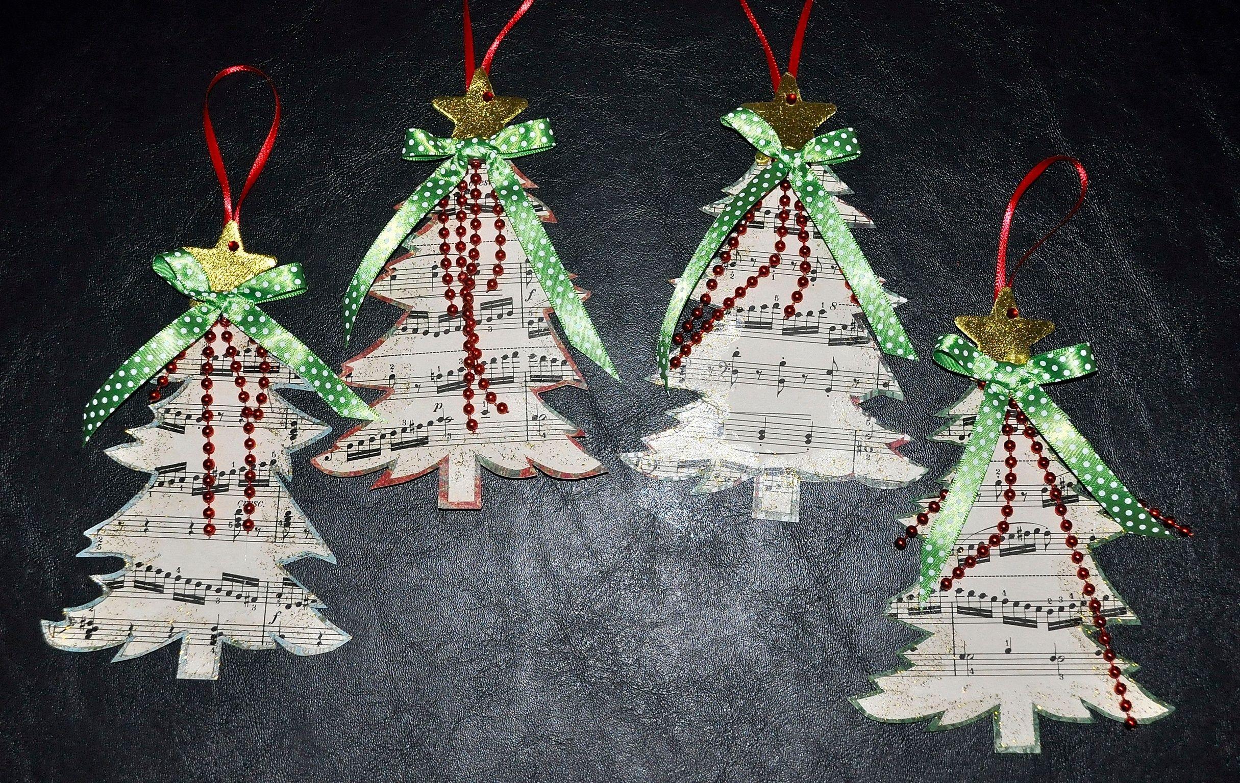 Sheet Music Christmas Tree Ornaments Music Ornaments Christmas Ornaments Creative Christmas