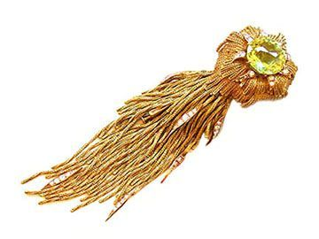 STERLE VINTAGE GOLD AND PERIDOT COMET BROOCH