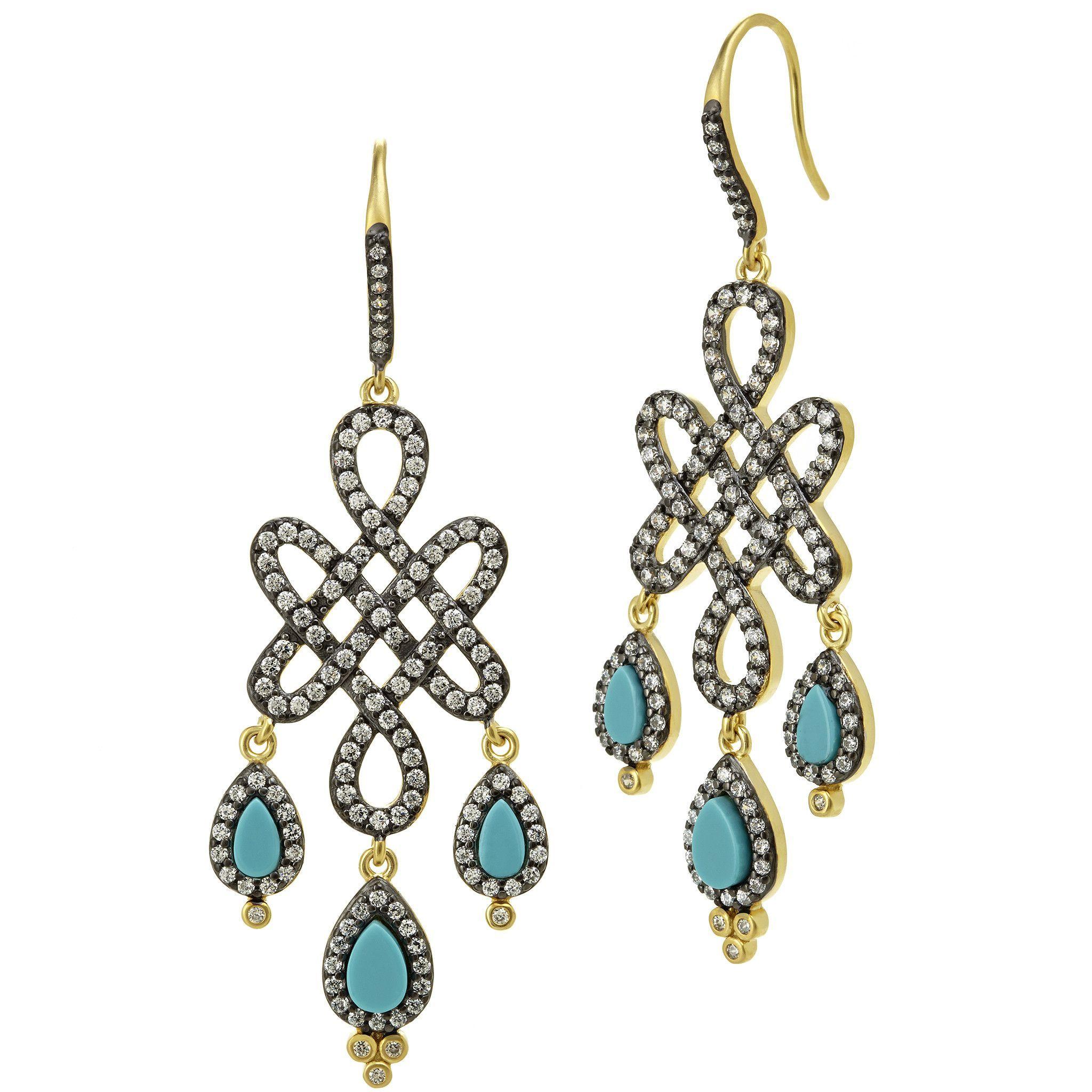 Love Knot Turquoise Tears Chandelier Drop Earrings
