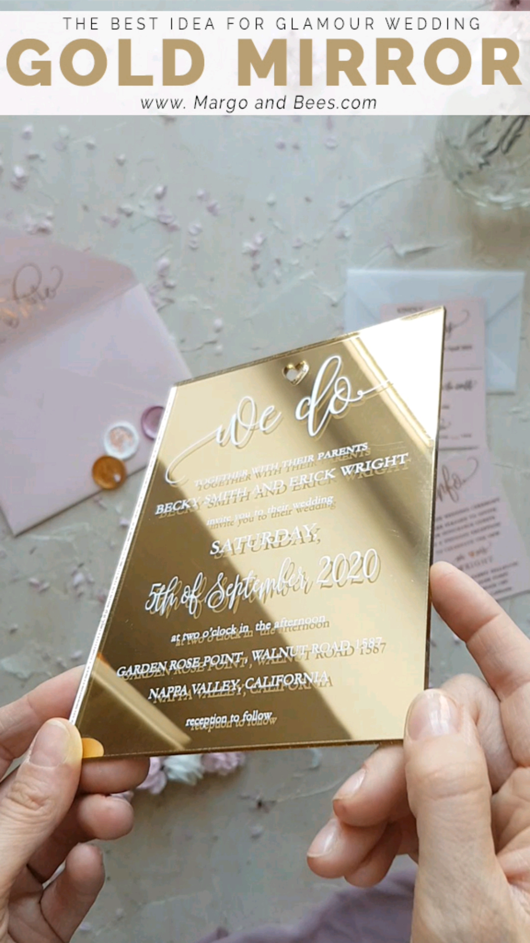 Glamour wedding invitation idea- #goldmirror   #margoandbees #weddinginvitations #glamourweddingideas #goldinvitations #modernwedding