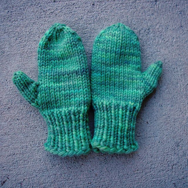 This two-needle mitten pattern features stockinette stitch ...