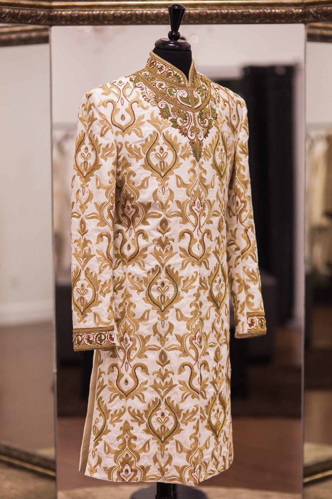 Tussar silk off white antique gold sherwani new album
