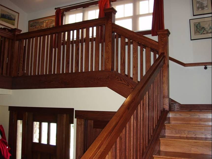 Best Craftsman Stair Railings Red Oak Craftsman Style 400 x 300