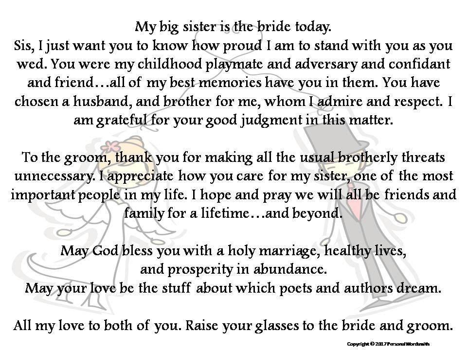 Toast To Bride From Brother Printable Best Man