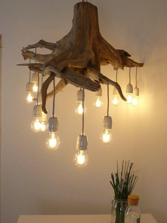 Artikel ähnlich Eiche Wurzel Deckenlampe mit 13 Filament LED-Leuchten auf Etsy - Welcome to Blog