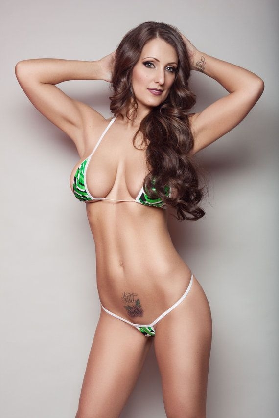 e2849eede85 Green Stripes Sexy Micro G String Bikini 2pc Sliding Triangle Top Mini Thong  Minimal Coverage Swimwe