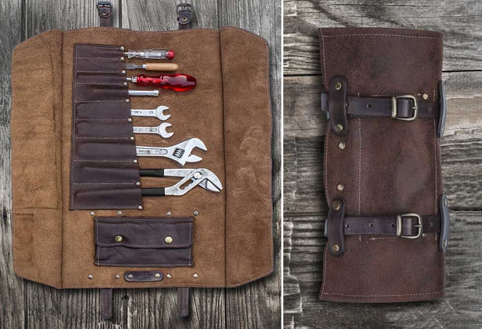 9 Pocket Leather Tool Roll Storage Case Pouch Brown, Vegetable Tanned Leather