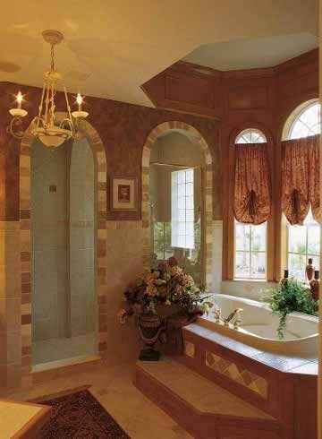 master bath in earth tones   mediterranean style house