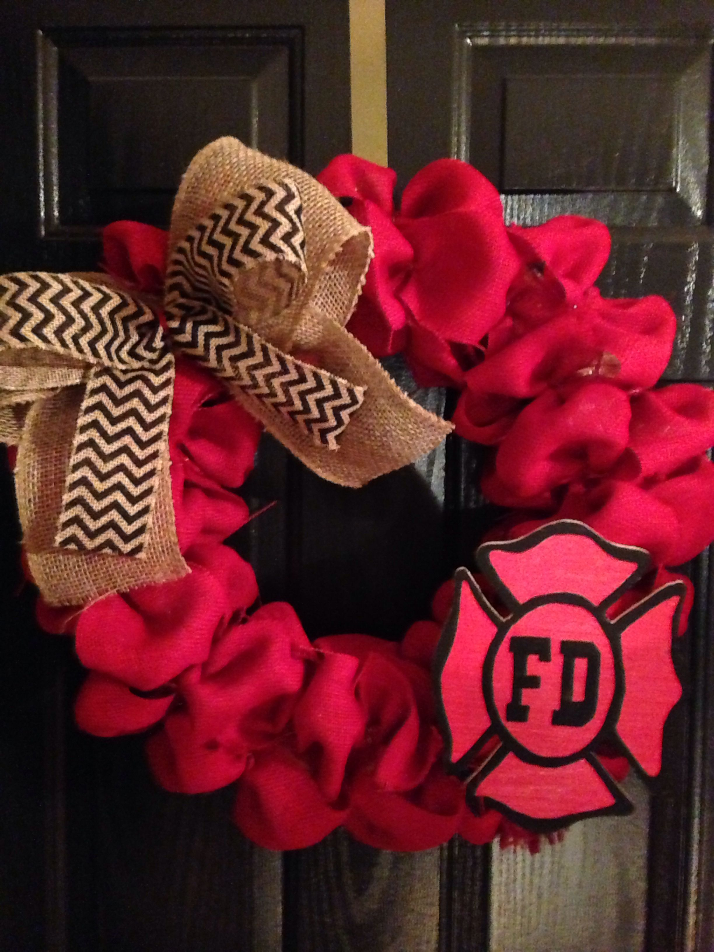 Fire Department Christmas Gifts Part - 46: Fire Department Burlap Wreath