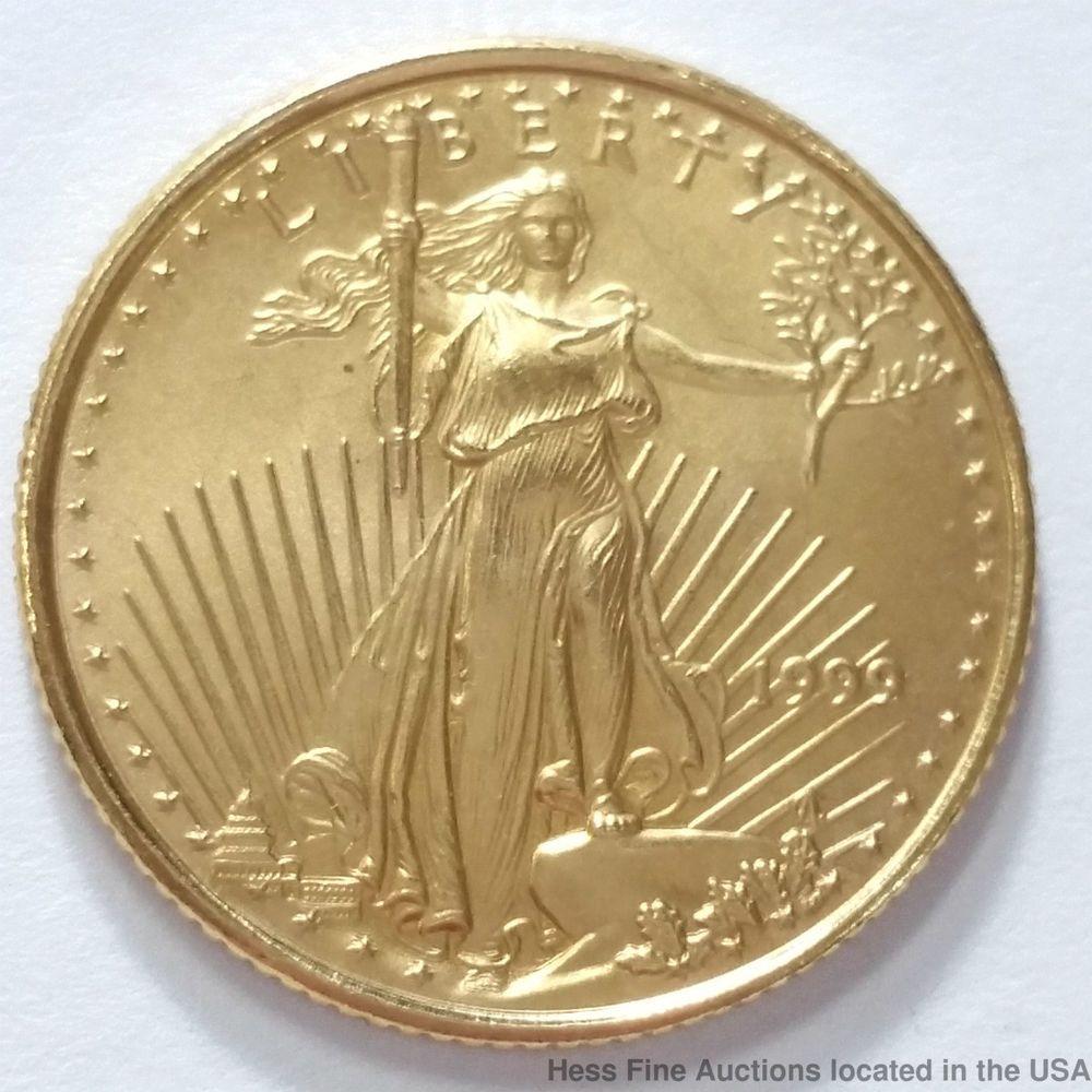 1999 American 1 10 Oz Five 5 Dollar Gold Eagle Bullion Coin Coins Gold Coins Gold Eagle