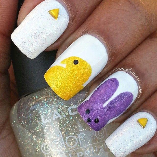 Easy and Simple Easter Nail Art Design - Peeps Nails, Tonyalaniece_art Nails Pinterest Easter Nails