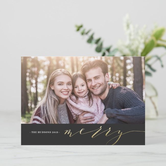 Gold Calligraphy Photo Merry Christmas Card | Zazzle.com